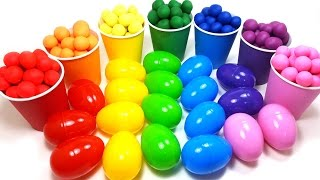 fun learning colors with surprise eggs and play doh ball video for kids