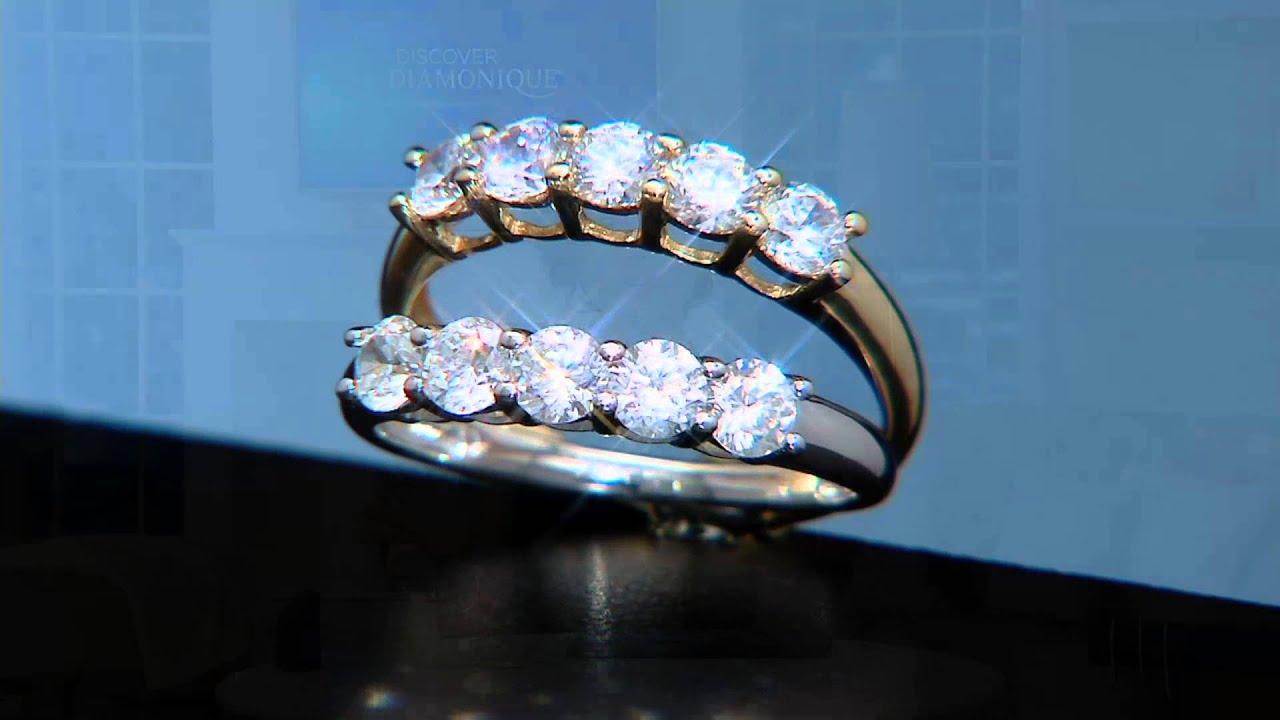 Diamonique 5 Stone Band Ring 14K Gold on QVC