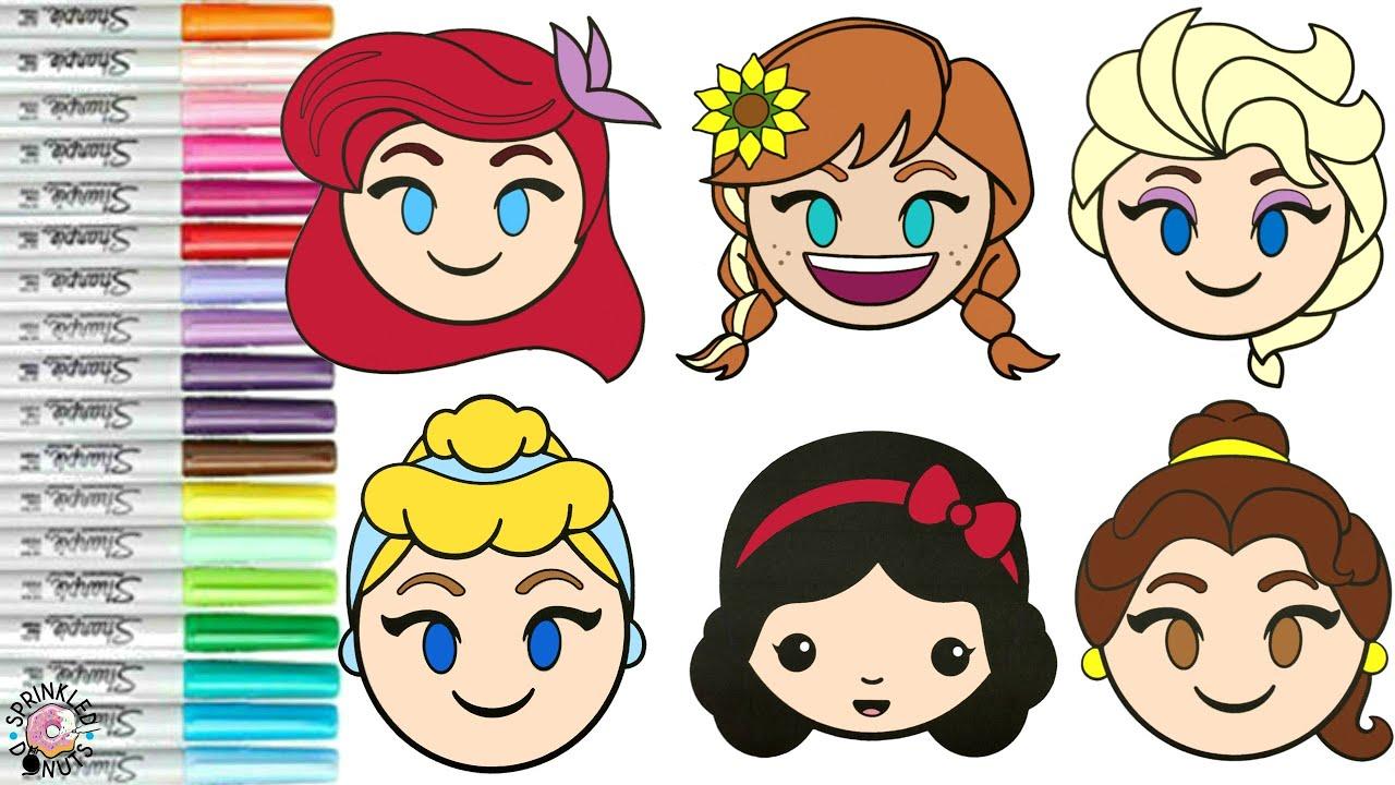 Disney Princess Coloring Book Page Compilation Disney Emojis Anna Elsa  Ariel Belle Snow White Cinder