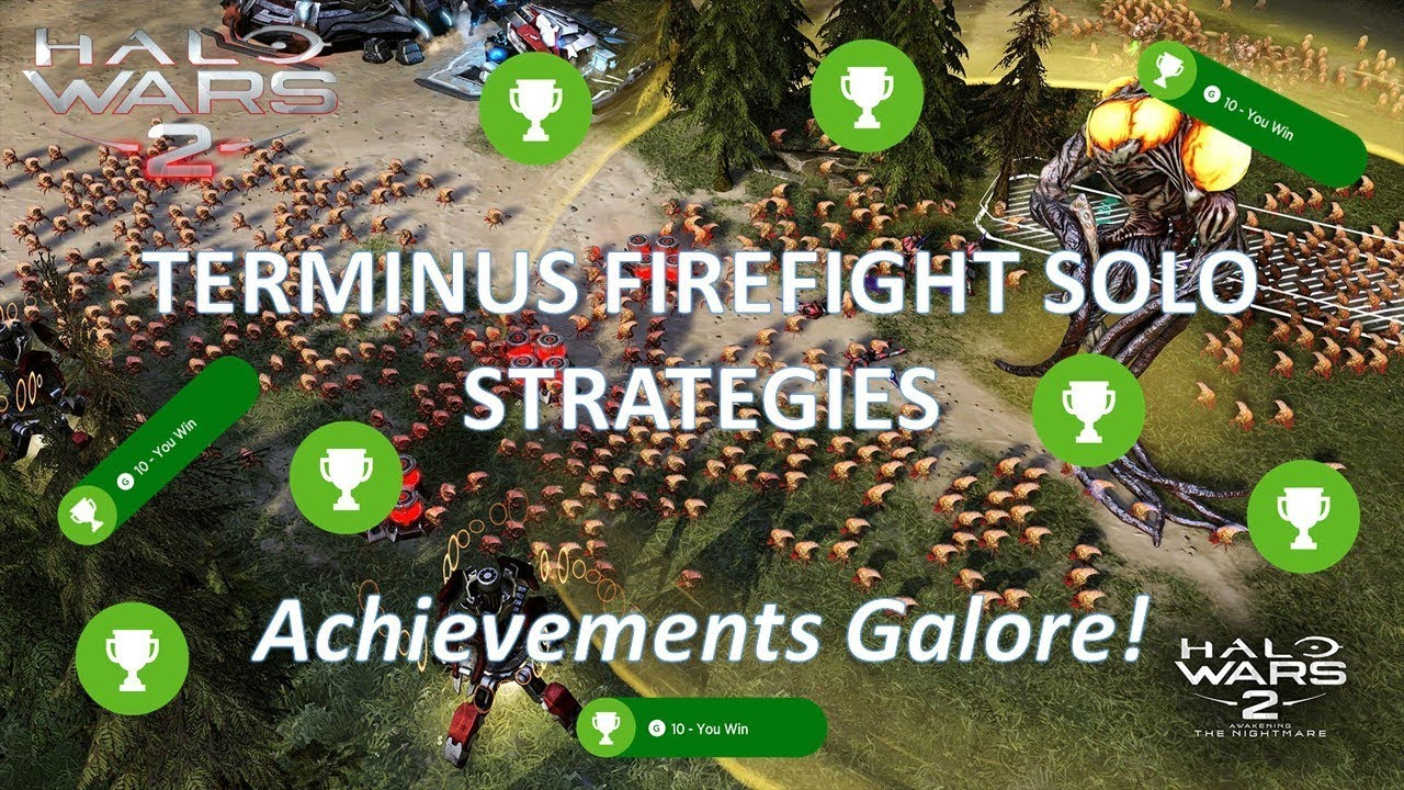 Terminus Solo Firefight Strategy - Achievement Guide! 13 Achievements in 1  Game! (Halo Wars 2)