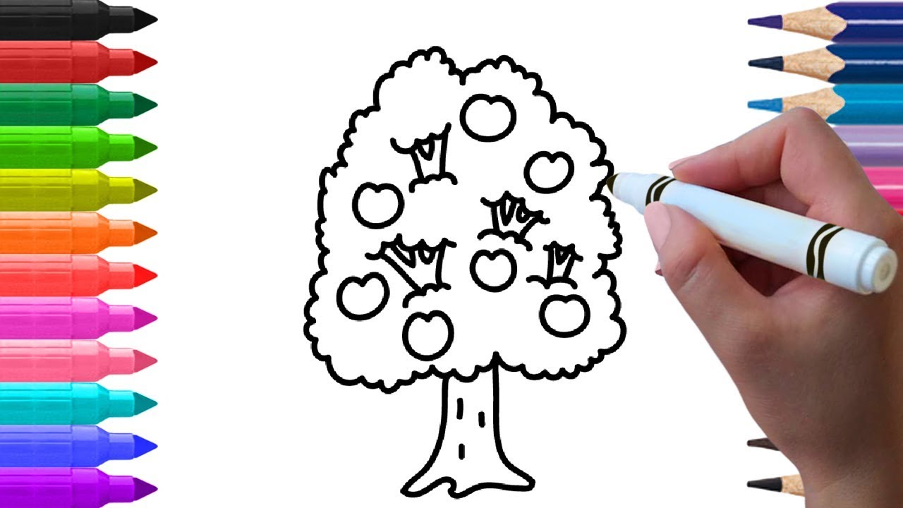 How to Draw Tree Learn to draw Apple Tree Drawing easy ...