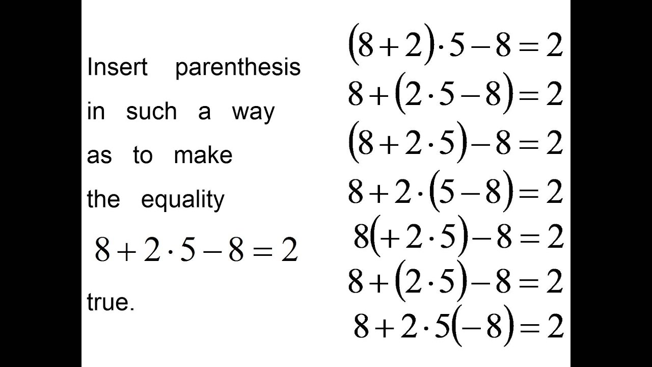 Order Of Solving Math Equations
