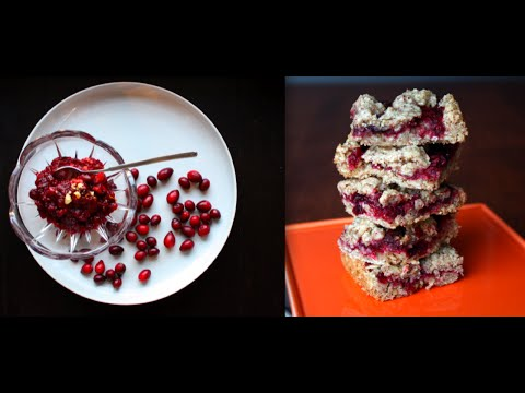 Cranberry Sauce/Cranberry Oat Bars (Vegan, Gluten-free, Reduced Sugar)