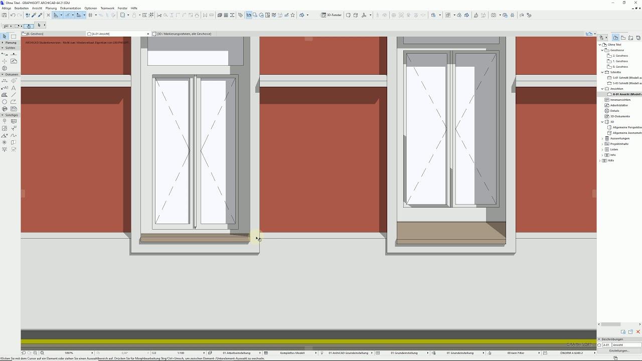 Archicad 21 Altbaufenster tauschen Fensterbänke anpassen - YouTube