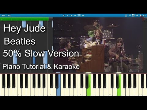 Hey Jude - Beatles | 50% Slow speed | Piano Tutorial | Guitar Chords | Sheet
