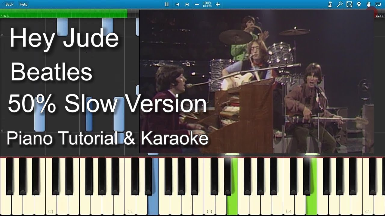 Hey Jude Beatles 50 Slow Speed Piano Tutorial Guitar Chords