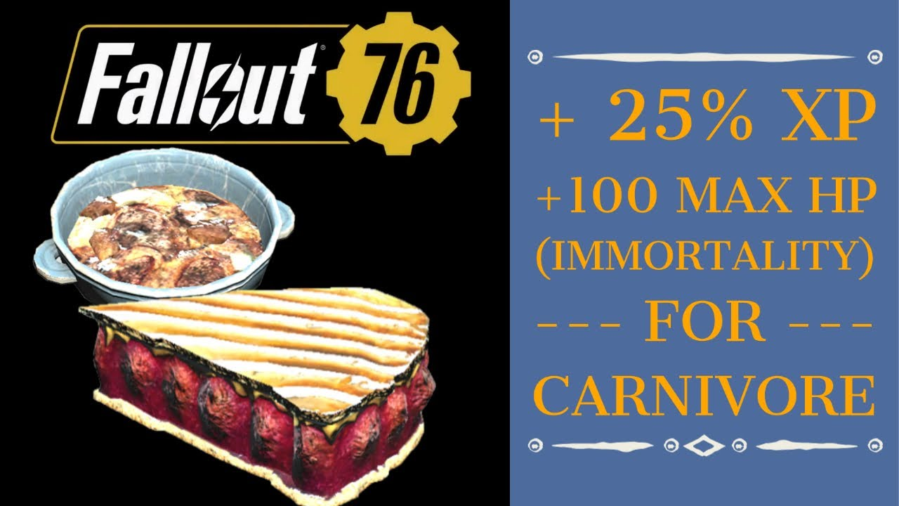 How to Become Practically IMMORTAL, plus 25% Bonus XP for Carnivores - Fallout 76 Wastelanders