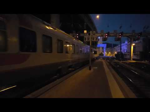 """French electric locomotive BB122337 with EN 19 """"Trans European Express"""" Nice-Moscow. 4K UHD D.Sound"""
