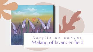 Lavender field Painting | Acrylic Landscape Painting for Beginners Step by Step | Easy Acrylic Demo