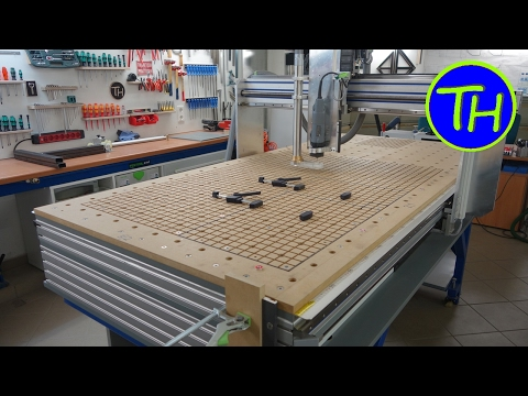 Homemade CNC Router with built-in vacuum table and holes like the Festool MFT table