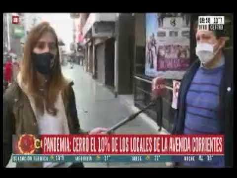 C5N - Mención a FECOBA en móvil en Av. Corrientes por locales cerrados