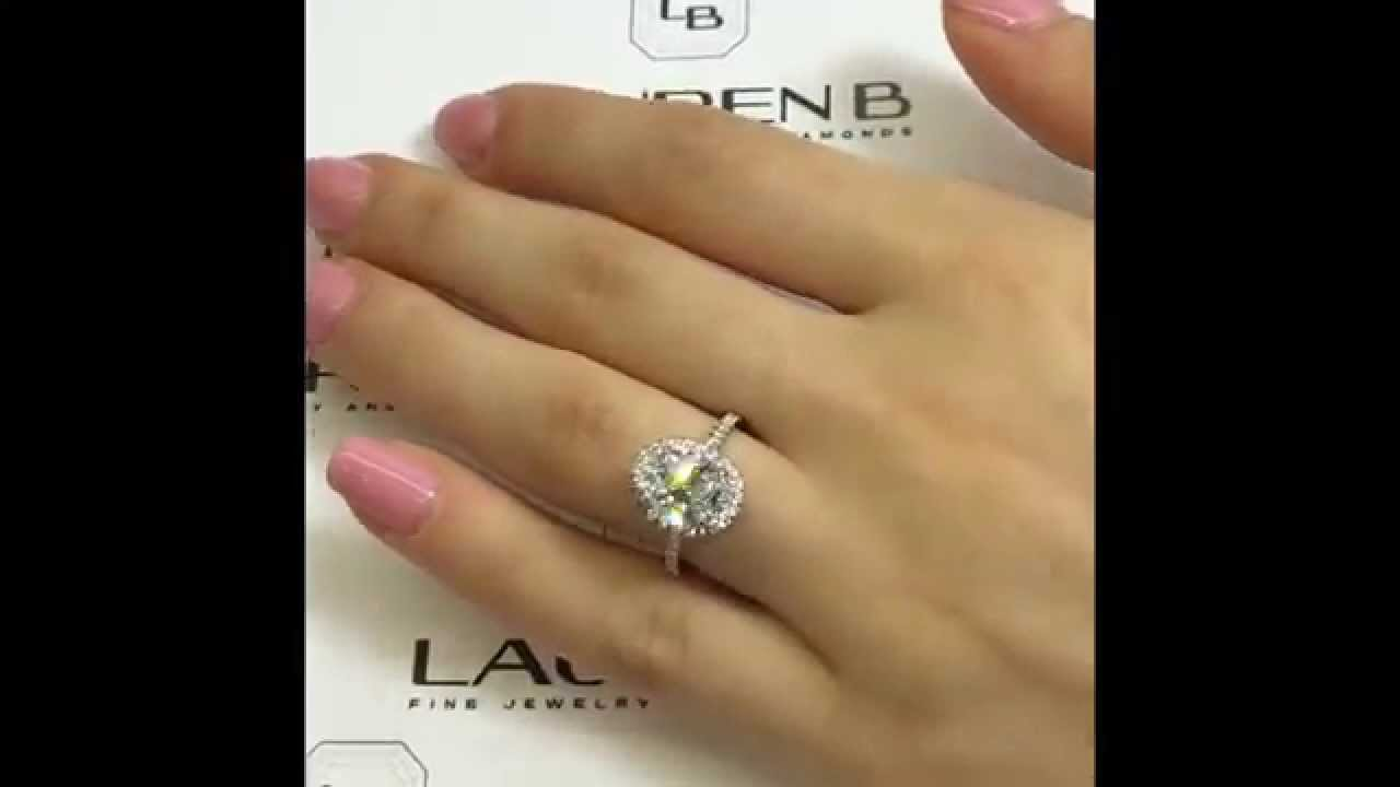 2 01 Ct Oval Diamond Halo Engagement Ring Youtube