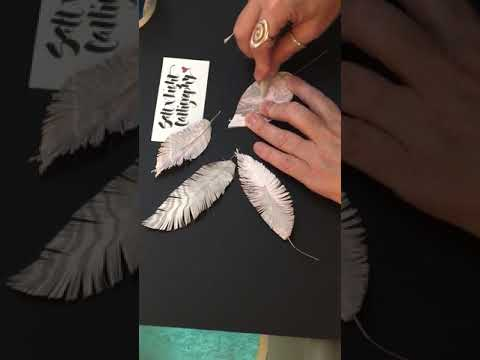Suminagashi Paper Feathers by Salt & Light Calligraphy