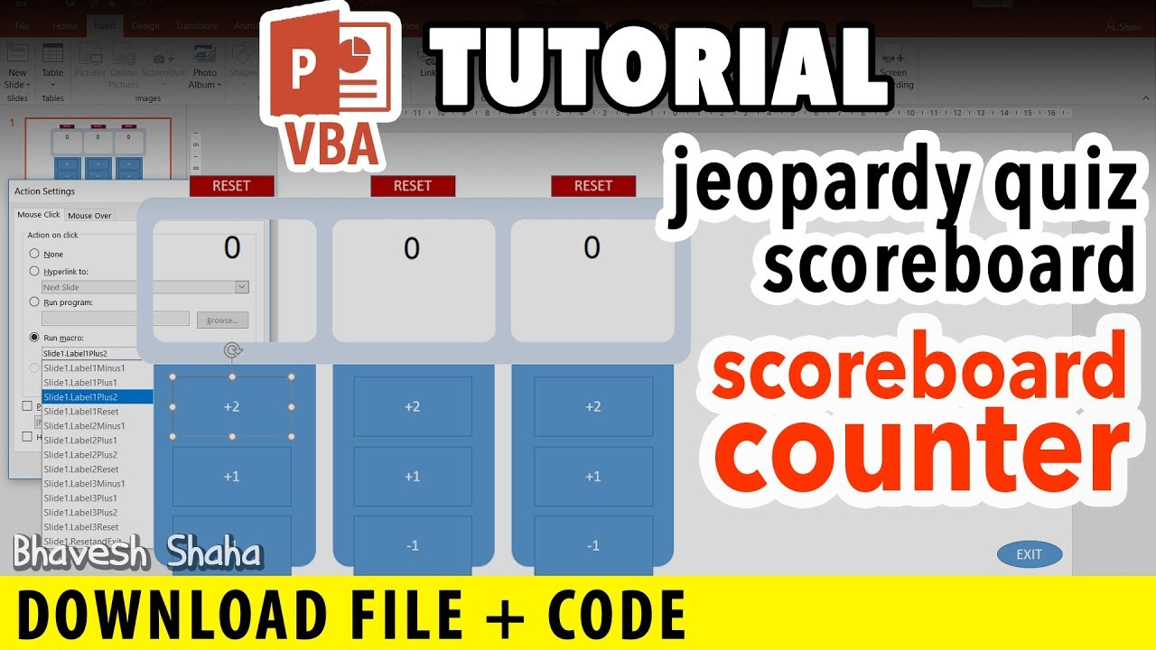 Creating Points Scoreboard in PowerPoint [PPT VBA Tutorial] + Download