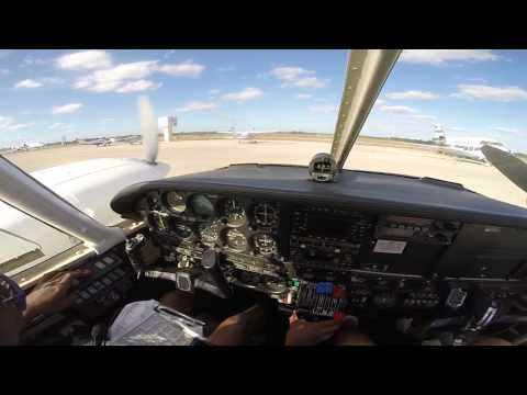 PA34-200 Piper Seneca cockpit view engine start up and takeoff   GoPro HD