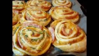 Рецепт Булочек из слоеного теста с ветчиной(Recipe of Puff pastry with ham)