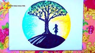 Vẽ cô gái bên cây thông trong khung hình tròn