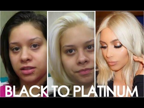 how to kim kardashians blonde hair easy steps from black to platinum blonde hair youtube