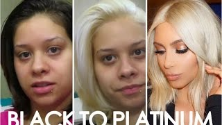 HOW TO Get Kim Kardashians Blonde hair! Easy steps from black to platinum/Blonde hair!!!