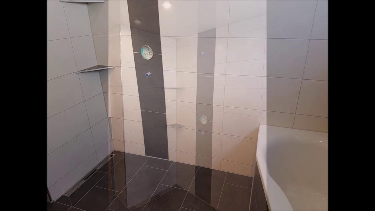 qarbeit bad renovierung fliesen spanndecke barrierefrei dusche youtube. Black Bedroom Furniture Sets. Home Design Ideas