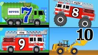 Learning To Count Collection Vol. 1 - Counting to 10 Monster Trucks, Fire Engines, Garbage Trucks