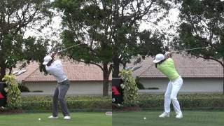 TIGER WOODS VS RICKIE FOWLER SIDE BY SIDE DRIVER - 2013 GOLF SWING REG & SLOW MOTION - 1080p HD
