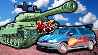 TANK vs Minivan DRAG RACE!