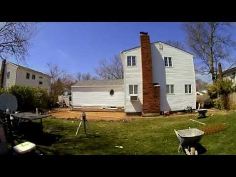 Remove old concrete and replace with new stamped concrete patio