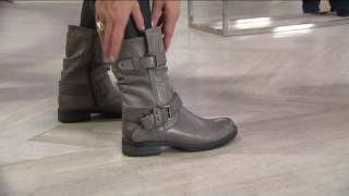 Earth Leather Mid Calf Boots w/ Buckles - Everwood on QVC