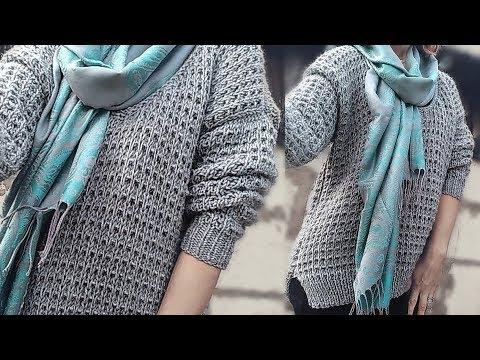 Пуловер спицами пышным узором // Мастер - класс .