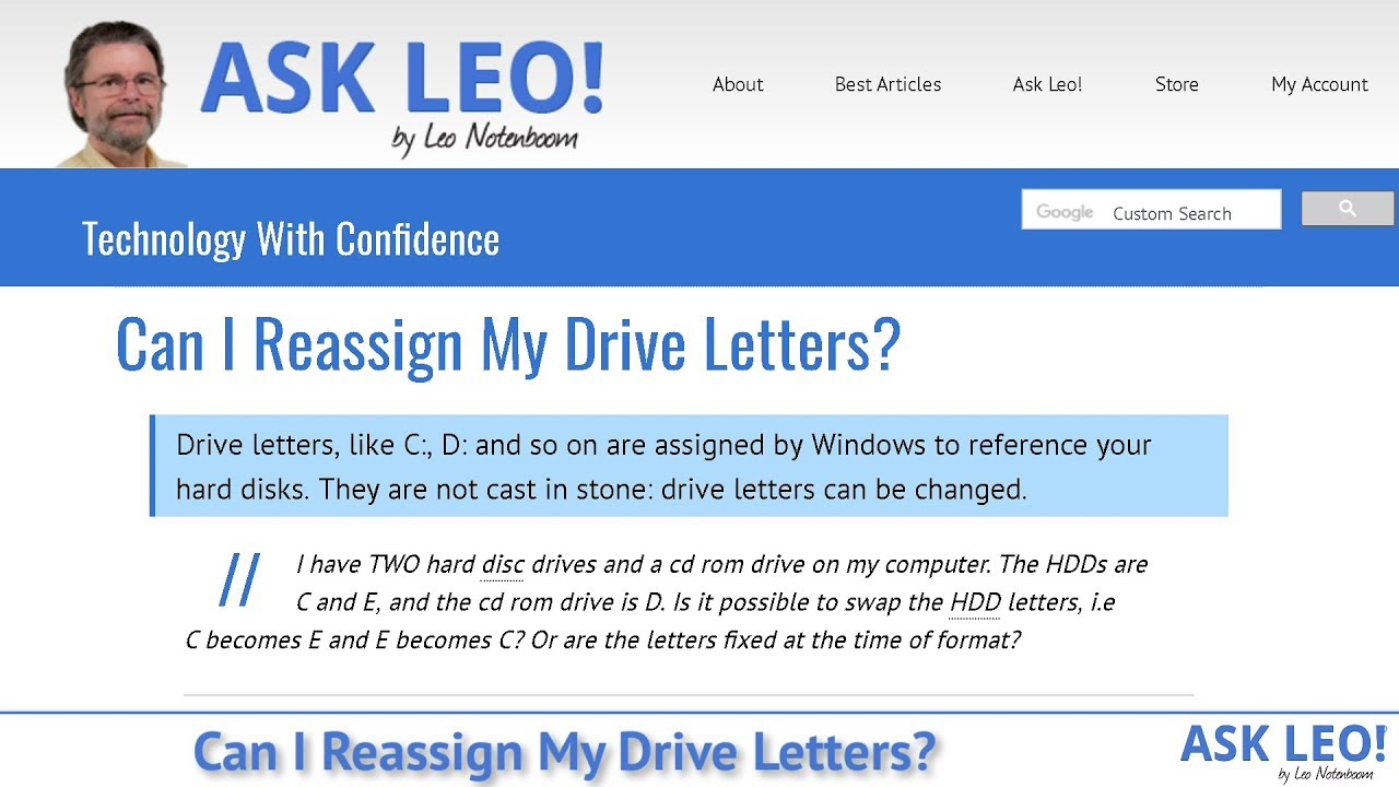 Can I Reassign My Drive Letters? - Ask Leo!