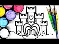 Painting a Simple Castle Coloring Pages for Kids