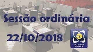 Sessão ordinária 22/10/2018