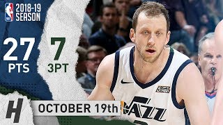 Joe Ingles Full Highlights Jazz vs Warriors 2018.10.19 - 27 Pts, 7 Threes!