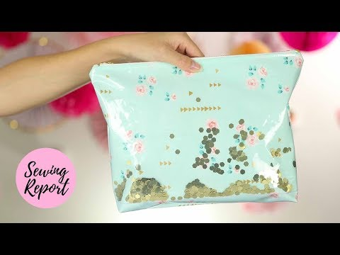 Confetti Zipper Pouch 🎉 Shower Curtain DIY Project     SEWING REPORT