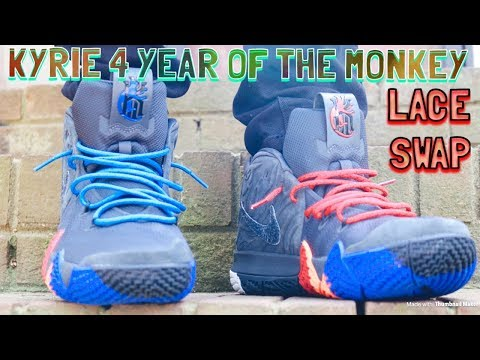 sports shoes 6cb2b a4363 NIKE KYRIE 4 YEAR OF THE MONKEY - LACE SWAP - LACES VIA DMG ...