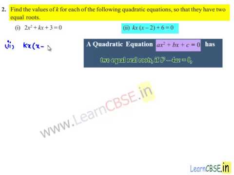 NCERT Solutions for Class 10 Maths Quadratic Equations Ex 4 4 | Nature of  the roots