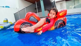 Kids Playing with LIGHTNING MCQUEEN and Paw Patrol Toys in Pool