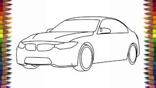 How to draw a car BMW M3 Sedan step by step