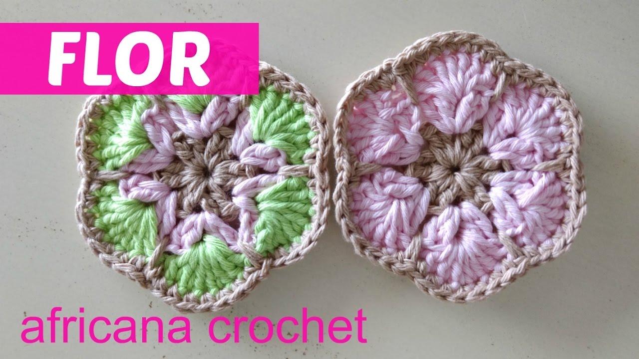 Flor Africana Crochet Youtube Flower Motif Motivos Hexagonales Pinterest African