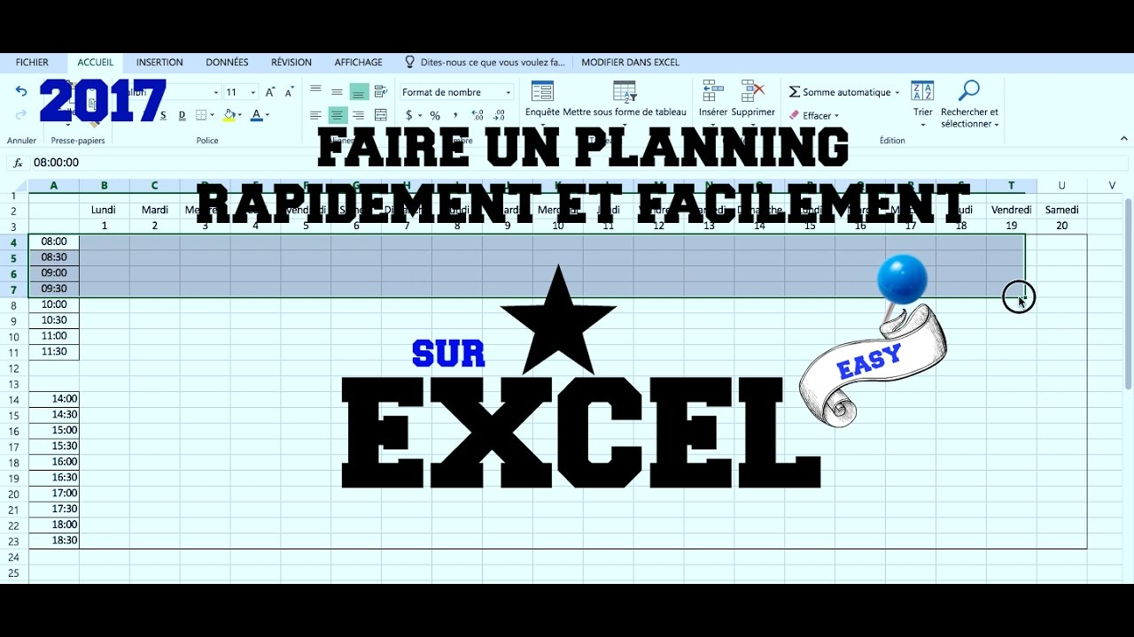 Tuto Faire Un Planning Rapidement Et Facilement Sur Excel Youtube