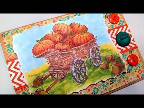 Stamp Giveaway & Fall Pumpkin Wagon Card Coloring Tutorial!
