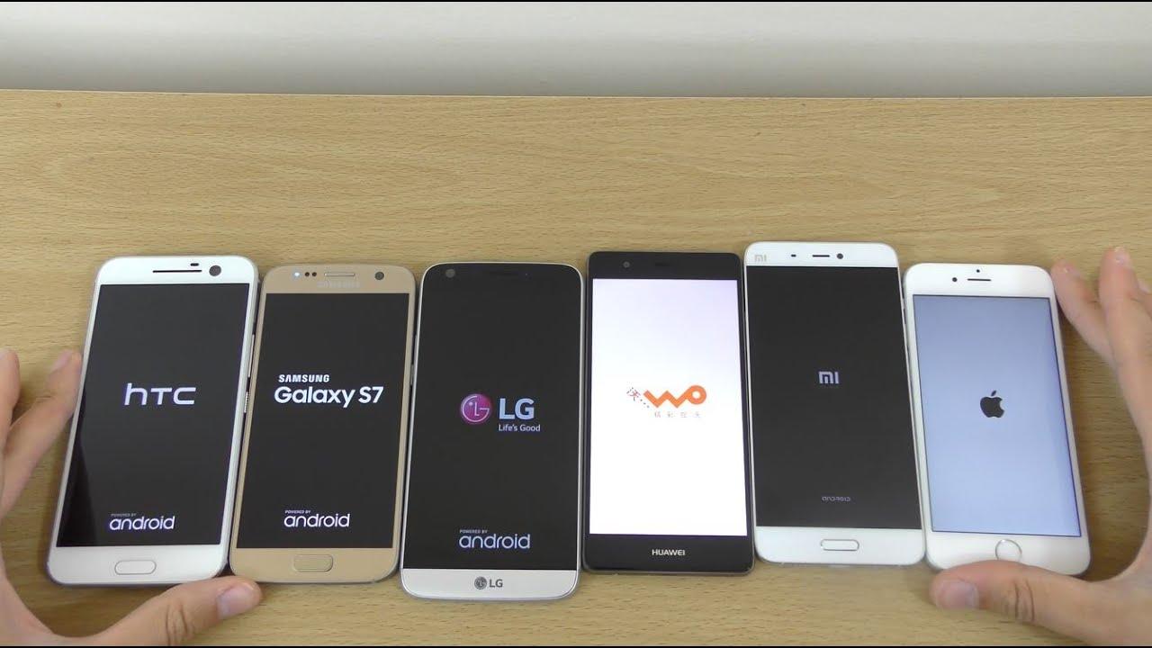 Samsung galaxy s7 vs lg g5 vs apple iphone 6s vs samsung galaxy s6 - Htc 10 Vs Galaxy S7 Vs Lg G5 Vs Iphone 6s Vs Huawei P9 Vs Xiaomi Mi5 Speed Test Youtube