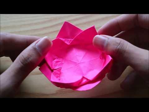 CARA MEMBUAT BUNGA TERATAI DARI ORIGAMI, Mudah tapi Indah || Origami Tricks