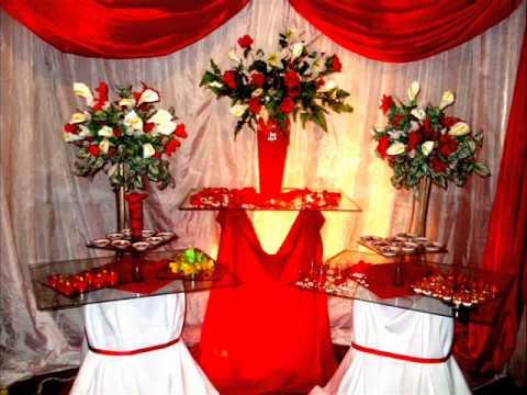 Decoração de casamento Vermerlho e branco flor branca