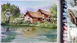 Watercolor Landscape Painting : the houses in riverside