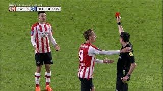 ¡ROJA DIRECTA! Chucky Lozano EXPULSADO por fuerte agresión - PSV vs Heerenveen (HD) 17/02/18
