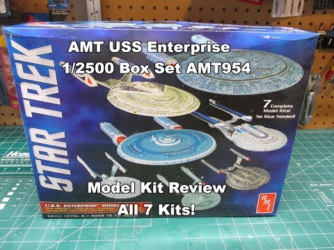 AMT STAR TREK U.S.S.  ENTERPRISE BOX SET 1:2500 KIT REVIEW AMT954 New 2017