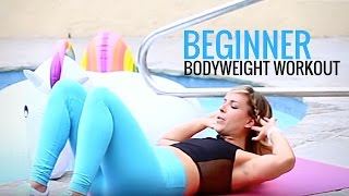 Beginner Bodyweight Workout for women | Home Workout NO EQUIPMENT NEEDED(Today's workout: 50 squats 40 lunges 30 second plank 20 crunches 10 plank shoulder taps Repeat 2-3 sets and leave a comment below when you're done!, 2016-06-14T15:06:55.000Z)