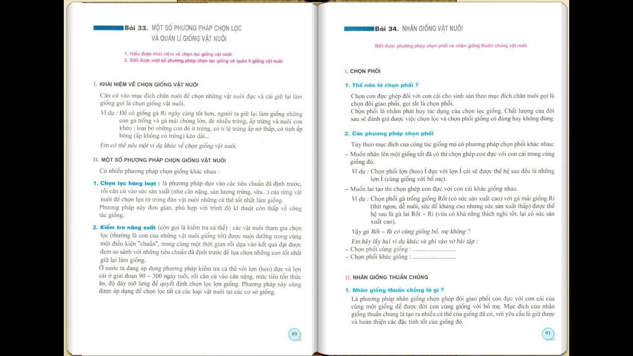 Công Nghệ 7 Bài 32,33,34 CHỦ ĐỀ CHỌN LỌC GIỐNG VẬT NUÔI ( Tiết 2)
